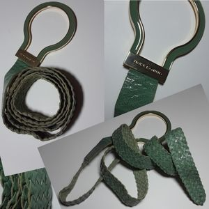 Vince Camuto Woven Hoop Buckle Leather Belt